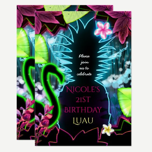 Electric Neon Lights Pineapple Party Invitation