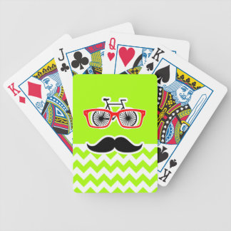 Electric Neon Lime Green Chevron; Funny Hipster Bicycle Playing Cards