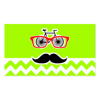 Electric Neon Lime Green Chevron; Funny Hipster Business Card Templates