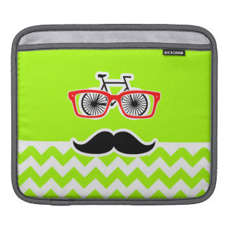 Electric Neon Lime Green Chevron; Funny Hipster Sleeves For iPads