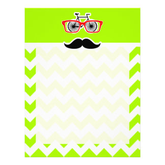 Electric Neon Lime Green Chevron; Funny Hipster Letterhead Design