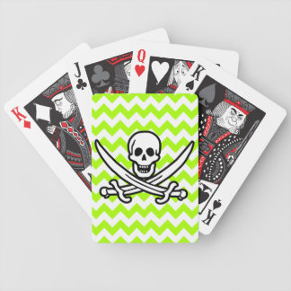 Electric Neon Lime Green Chevron; Pirate Bicycle Playing Cards