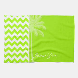 Electric Neon Lime Green Chevron; Tropical Palm Hand Towels