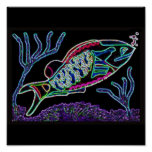 Electric Neon Parrotfish Poster