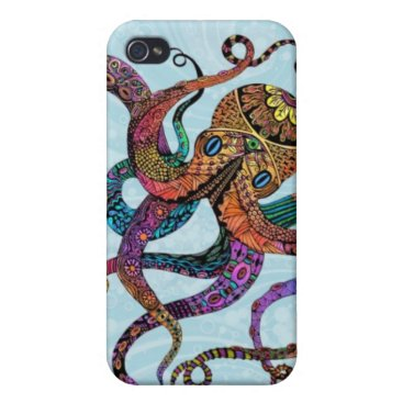 Beach Themed Electric Octopus iPhone 4 Case Savvy Case