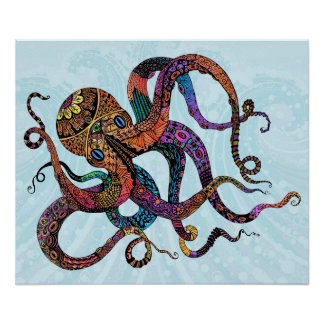 Electric Octopus Poster Print