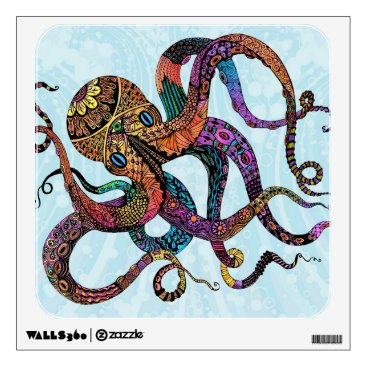 Beach Themed Electric Octopus Wall Decal