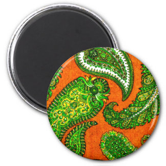 Electric Orange and Green Indian Paisley 2 Inch Round Magnet