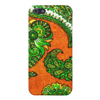 Electric Orange and Green Indian Paisley iPhone SE/5/5s Case