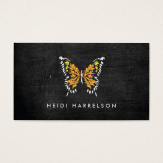 ELECTRIC ORANGE BUTTERFLY LOGO on BLACK WOOD Business Card