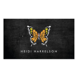 ELECTRIC ORANGE BUTTERFLY LOGO on BLACK WOOD Double-Sided Standard Business Cards (Pack Of 100)
