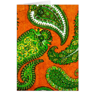 Electric Orange & Green Paisley Note Cards
