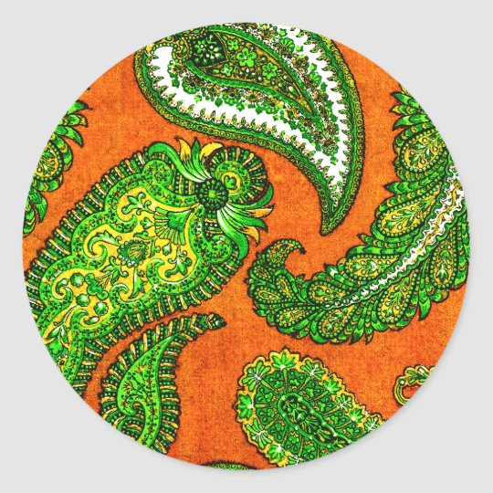 Electric Orange Paisley Envelope Seal Sticker