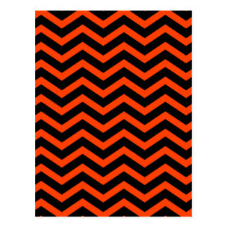 Electric Orange Zigzag Pattern Postcard