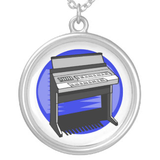 Electric Organ Blue Background Music Graphic Round Pendant Necklace