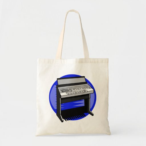 Electric Organ Blue Background Music Graphic Tote Bag