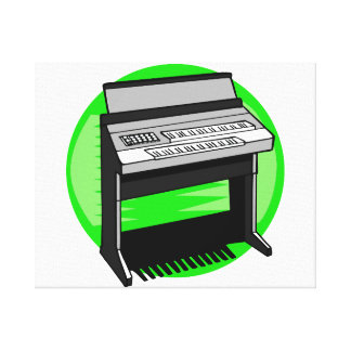 Electric Organ Green Background Music Graphic Canvas Print