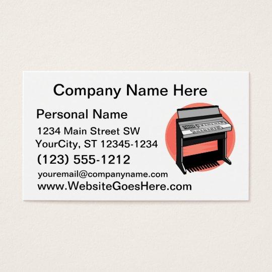 Electric Organ Peach Background Business Card
