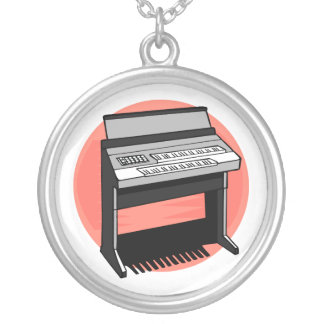 Electric Organ Peach Background Round Pendant Necklace