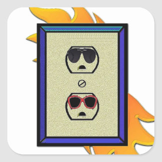 electric oulet square sticker