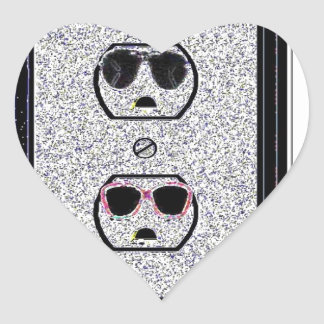 electric outlet co-ed heart sticker