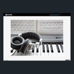 """Electric Piano Keyboard Decal For Laptop<br><div class=""""desc"""">headphones on electronic piano keyboard 