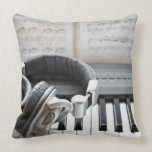 Electric Piano Keyboard Throw Pillows