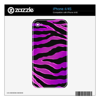 Electric Pink and Purple Glitter Zebra Skins Decals For iPhone 4