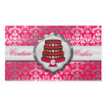 Electric Pink Cake Couture Glitzy Damask Bakery Business Card
