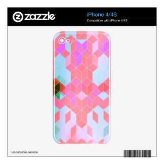 Electric Pink Cubes Graphic Design Decal For The iPhone 4S