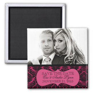 Electric Pink Lavish Damask Save the Date Magnet