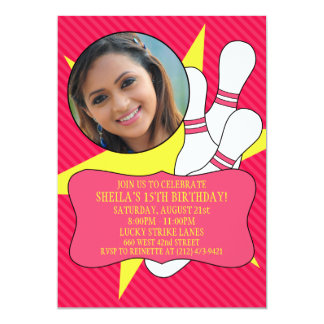 Electric Pink No Time To Spare Bowling Party Photo Personalized Invitations