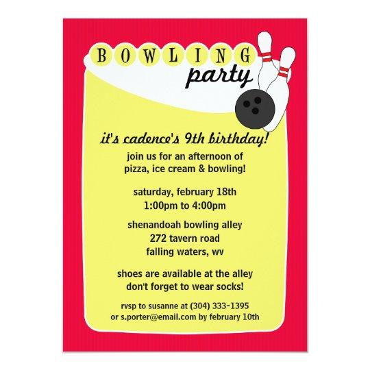 Electric Pink Retro Bowling Alley Bowling Birthday Card