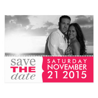 Electric Pink Sweet Beginnings Save the Date Photo Postcard