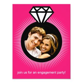 Electric Pink The Ring Photo Engagement Party 4.25x5.5 Paper Invitation Card