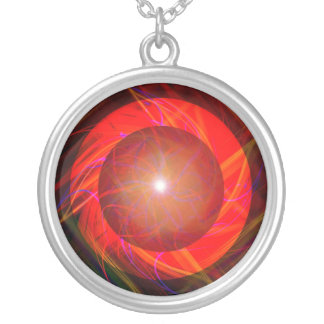 Electric Plaid Round Pendant Necklace
