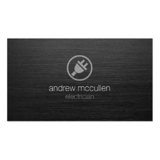 Electric Plug Icon Electrician Dark Brushed Metal Double-Sided Standard Business Cards (Pack Of 100)