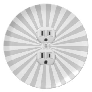 Electric Plug Wall Outlet Fun Customize This! Dinner Plate