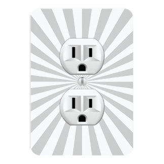 Electric Plug Wall Outlet Fun Customize This! 3.5x5 Paper Invitation Card