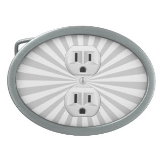 Electric Plug Wall Outlet Fun Customize This! Oval Belt Buckle