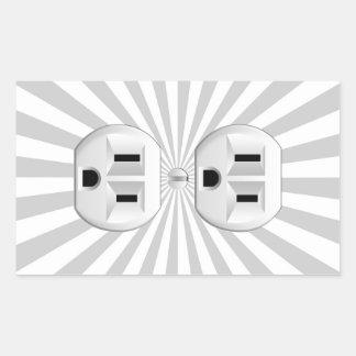 Electric Plug Wall Outlet Fun Customize This! Rectangular Sticker