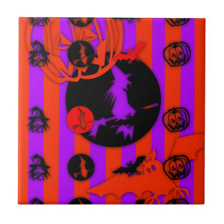 Electric Pop Colors Halloween purple Witch Tile