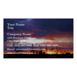 Electric power line against colorful sky at sunse business card