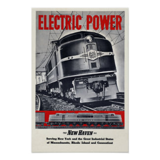 Electric Power Railroad Train ~ Vintage Travel Poster