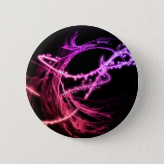 Electric Purple and Pink Neon Swirls Against Black Pinback Button