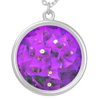 Electric Purple Bougainvillea Round Pendant Necklace