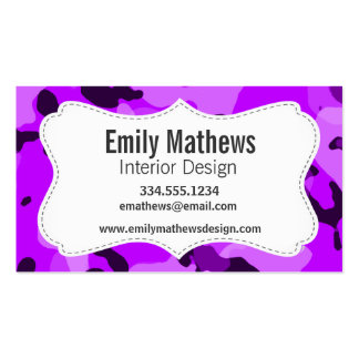 Electric Purple Camo; Camouflage Double-Sided Standard Business Cards (Pack Of 100)