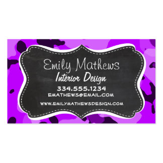 Electric Purple Camo; Vintage Chalkboard look Business Cards
