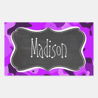 Electric Purple Camo; Vintage Chalkboard look Rectangular Sticker
