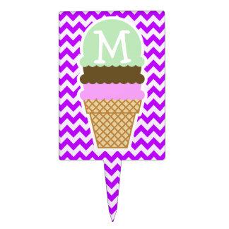 Electric Purple Chevron; Ice Cream Cone Cake Topper